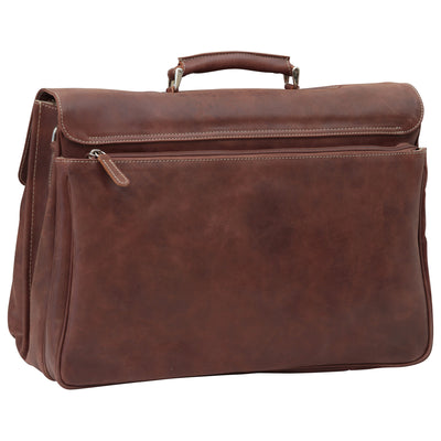 Briefcase with key closure - Chestnut - Italian Calfskin Leather