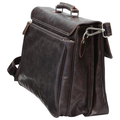 Briefcase with key closure - Dark Brown - Italian Calfskin Leather