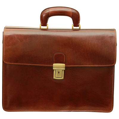 Briefcase With Secure Clip Closure - Brown - Italian Calfskin Leather