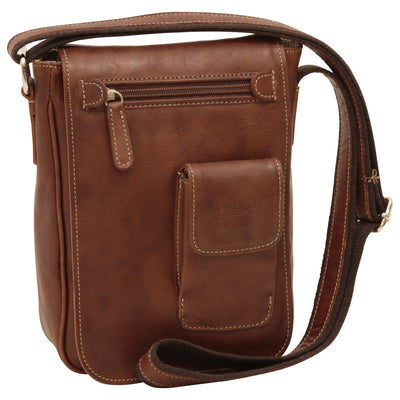 cross body bag with two outside pockets - Chestnut - Italian Calfskin Leather