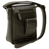 cross body bag with two outside pockets - Black - Italian Calfskin Leather