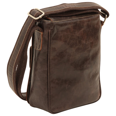 cross body bag with two outside pockets - dark Brown - Italian Calfskin Leather