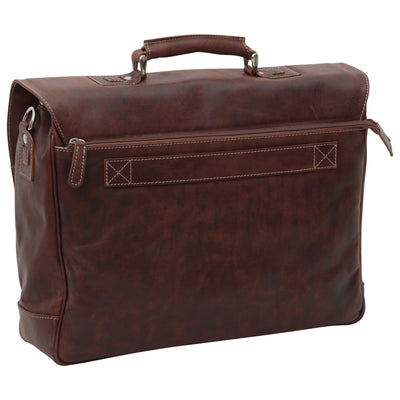 Briefcase with back pocket - Chestnut - Italian Calfskin Leather