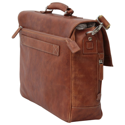 Briefcase with back pocket - Brown Colonial - Italian Calfskin Leather