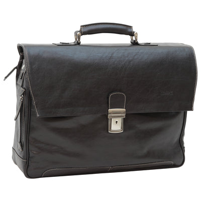 Briefcase with back pocket - Black - Italian Calfskin Leather