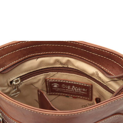 cross body bag with zip pocket - Chestnut - Italian Calfskin Leather