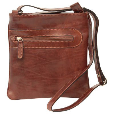Cross Body Bag With Zip Pocket - Brown - Italian Calfskin Leather