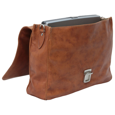 Laptop Briefacase - Brown Colonial - Italian Calfskin Leather