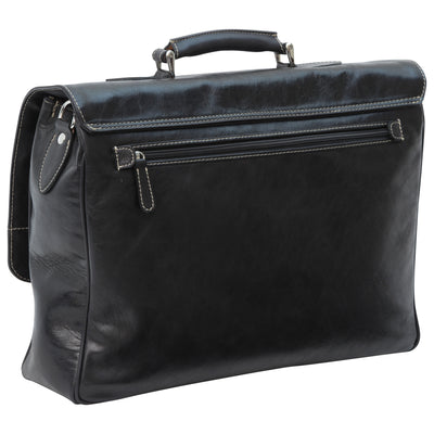 Laptop Briefacase - Black - Italian Calfskin Leather
