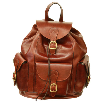 Backpack With 3 Exterior Pockets - Brown - Italian Calfskin Leather