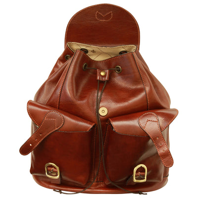 Backpack With 2 Exterior Pockets - Brown - Italian Calfskin Leather