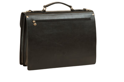 Briefcase With Shoulder Strap - Black - Italian Calfskin Leather