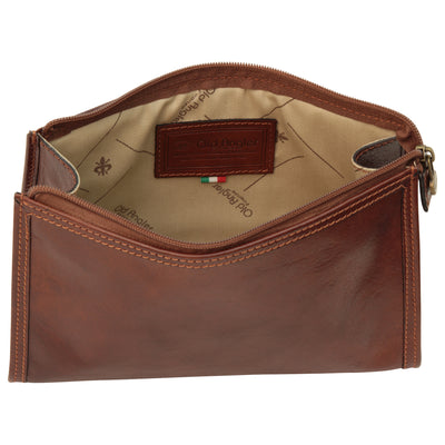 Travel Case (Large) - Brown - Italian Calfskin Leather