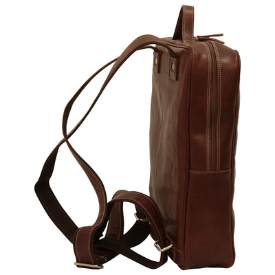 Laptop backpack - Brown - Italian Calfskin Leather