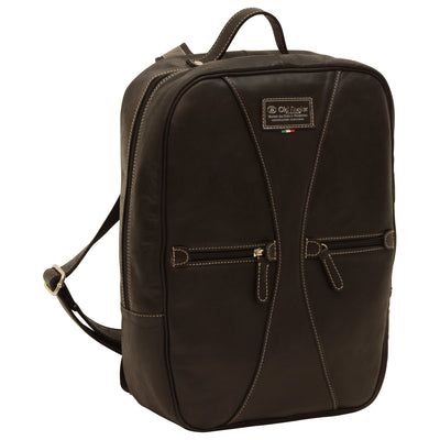 Backpack with 2 exterior zip pockets - Black - Italian Calfskin Leather