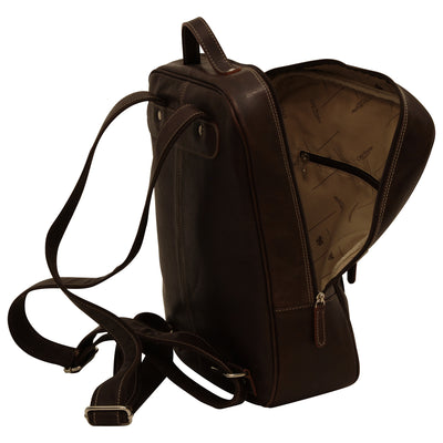 Backpack with 2 exterior zip pockets - Dark Brown - Italian Calfskin Leather