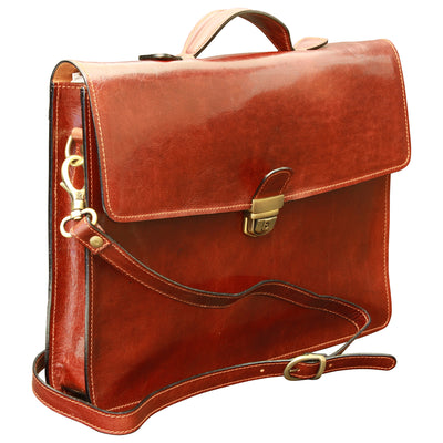Briefcase - Brown - Italian Calfskin Leather -  38 x 30 x 6
