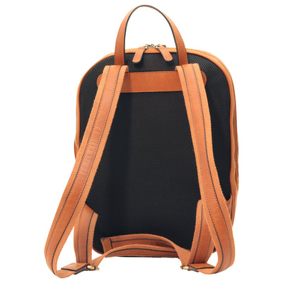Backpack With Exterior Zip Pockets - Colonial - Italian Calfskin Leather