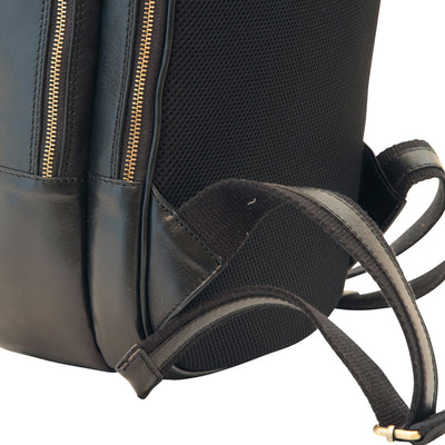 Backpack With Exterior Zip Pockets - Black - Italian Calfskin Leather