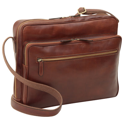 Bag With Zip Closures - Brown - Italian Calfskin Leather