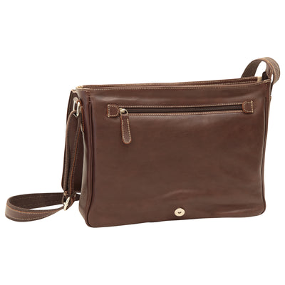 Messenger with frontal zip closure - Dark Brown - Italian Buffalo Leather