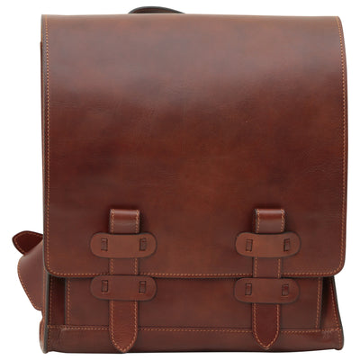 Backpack With Double Buckle Closure - Brown - Italian Calfskin Leather