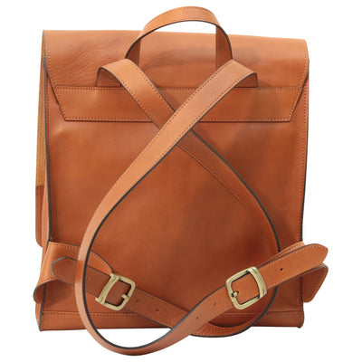 Backpack With Double Buckle Closure - Colonial - Italian Calfskin Leather
