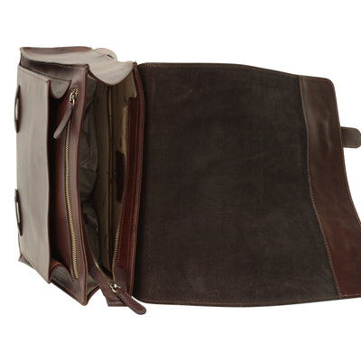 Backpack With Double Buckle Closure - Dark Brown - Italian Calfskin Leather