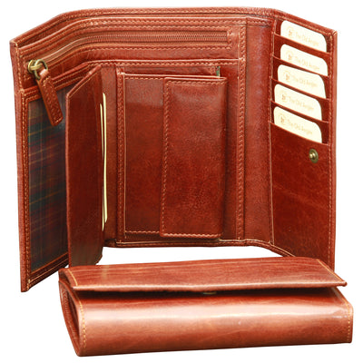 Wallet For Women - Brown - Italian Calfskin Leather