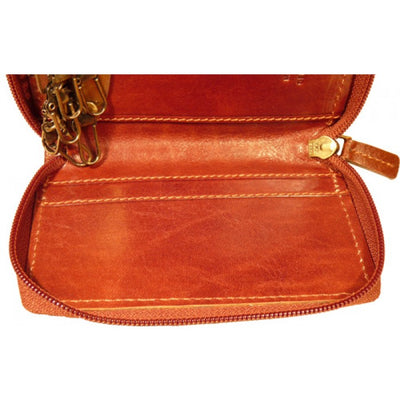 Key Holder With Zip Closure - Brown - Italian Calfskin Leather
