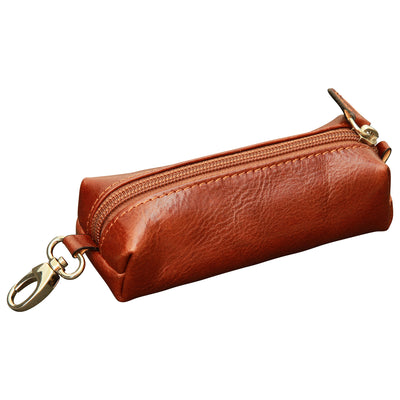 Key Chain With Zip Closure - Brown - Italian Calfskin Leather