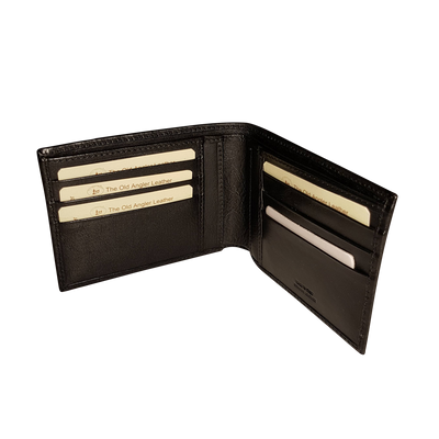 Bifold Wallet - 8 Card - Black - Italian Calfskin Leather
