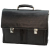 Briefcase - Two Clasp Close - Black - Italian Buffalo Leather