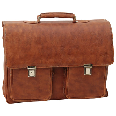 Briefcase - Two Clasp Close - Colonial - Italian Buffalo Leather