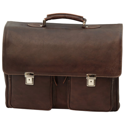 Briefcase - Two Clasp Close - Dark Brown - Italian Buffalo Leather