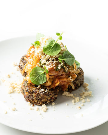 Quinoa Cakes with Spicy Tomato Kohlrabi Noodles