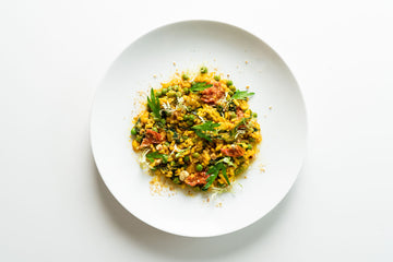 Risotto Milanese with Peas, Kale & Tomato