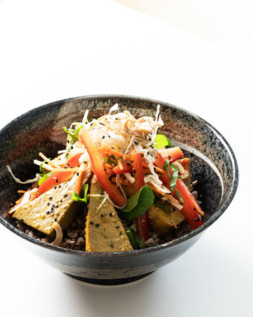 Sesame Soy Tofu Bowl with Brown Rice & Asian Veg