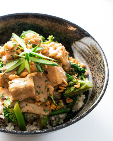 Sambal Peanut Tofu with Shiitake Rice