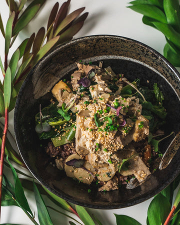 Jackfruit Tofu Coconut Curry with Wild Rice & Ginger Stir Fried Vegetables