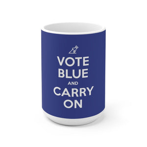 """Vote Blue and Carry On"" Ceramic Mug - True Blue Gear"