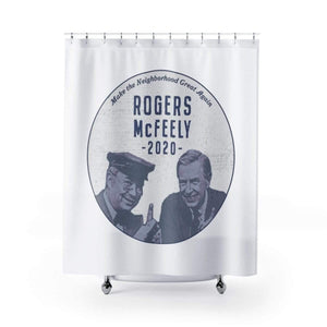 """Rogers/McFeely 2020"" Shower Curtain - True Blue Gear"