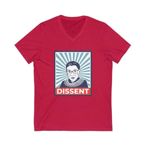 """RBG: DISSENT"" Unisex Jersey Short Sleeve V-Neck Tee - True Blue Gear"