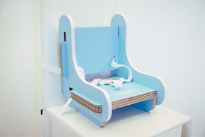 cardboard booster chair light blue