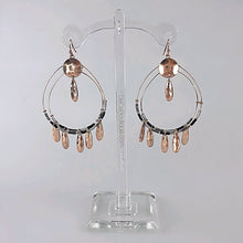 Load image into Gallery viewer, Black Double Hoop Fringe Earrings