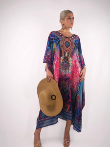 Beaded Mix Print Cover Up