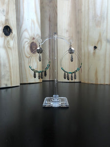 Green Double Hoop Fringe Earrings