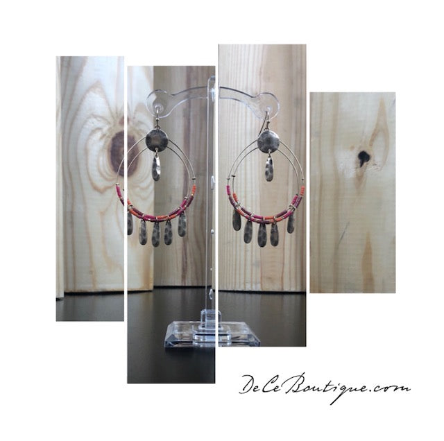 Red Double Hoop Fringe Earrings