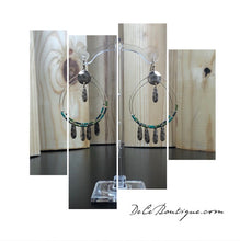 Load image into Gallery viewer, Green Double Hoop Fringe Earrings