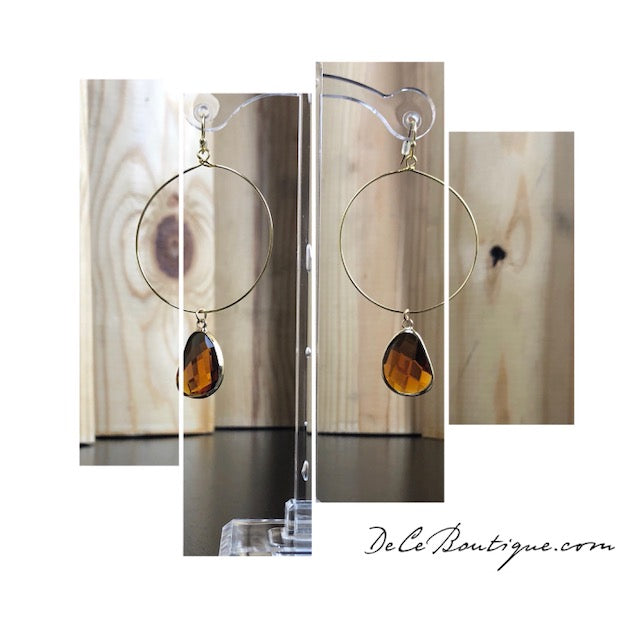 Amber Tea Drop Hoop Earrings